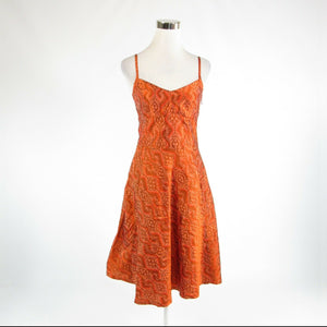 Orange ikat 100% silk BANANA REPUBLIC spaghetti strap A-line dress 2