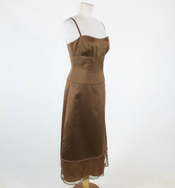 Brown NICOLE MILLER spaghetti strap mid-calf floral embroidered trim dress 6-Newish