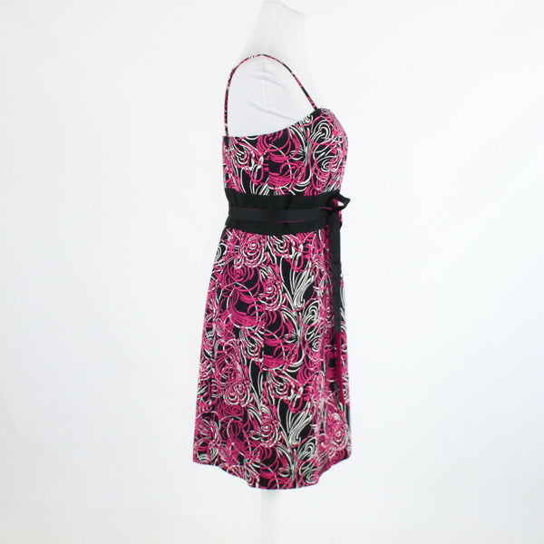 Black pink floral print 100% cotton ANN TAYLOR LOFT spaghetti strap dress 8