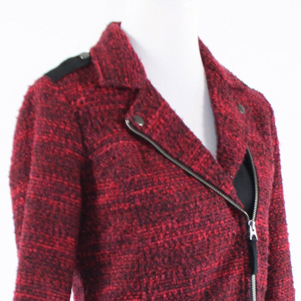 Red black space dyed tweed LUCKY BRAND long sleeve motorcycle jacket XS-Newish