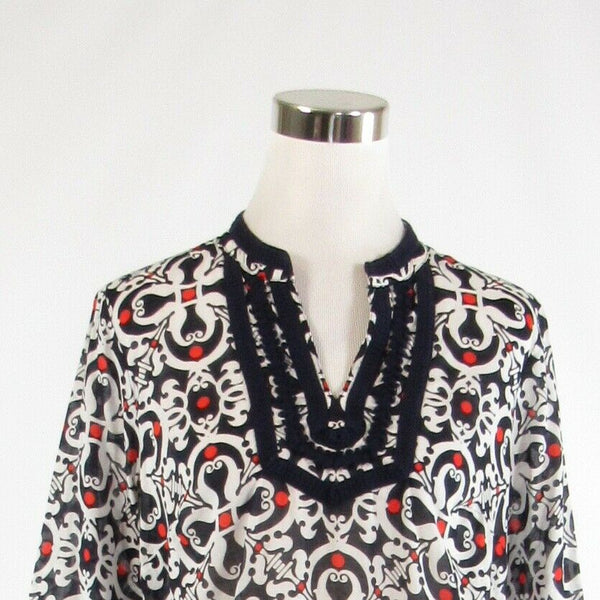 Navy blue white geometric 100% cotton TALBOTS 3/4 sleeve blouse PM