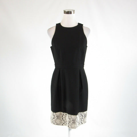 Black ivory pique cotton blend ANN TAYLOR sleeveless A-line dress 6