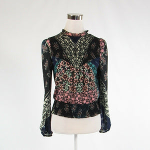 Dark blue black floral print ANTHROPOLOGIE PLENTY BY TRACY REESE blouse XS