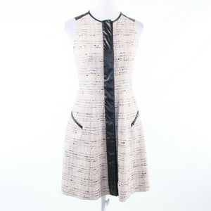 Light beige black space dyed tweed PER SE sleeveless A-line dress 0