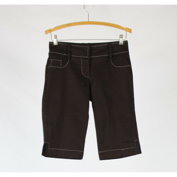 Dark brown cotton blend CACHE contrast stitch trim stretch bermuda shorts 2-Newish
