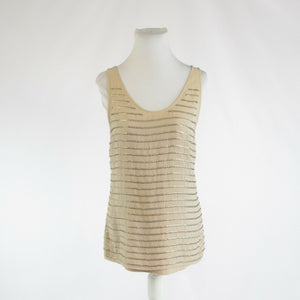 Beige gold striped cotton blend ANN TAYLOR LOFT sleeveless tank top blouse S