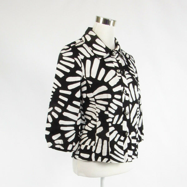 Black white geometric 100% cotton CHICO'S 3/4 sleeve blazer jacket 0 XS 4-Newish