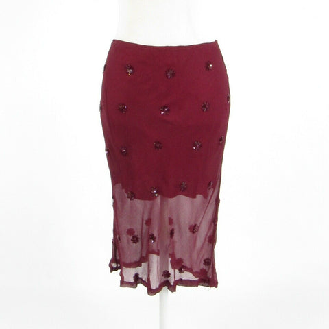 Maroon red satin JEFF GALLANO pencil skirt 2 2T-Newish