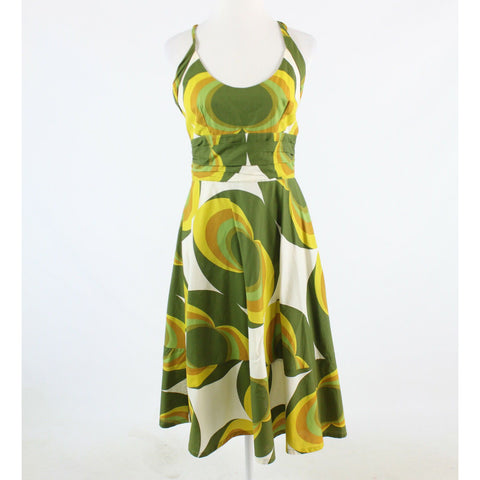 Olive green ivory geometric 100% cotton TOTEM sleeveless A-line dress 4