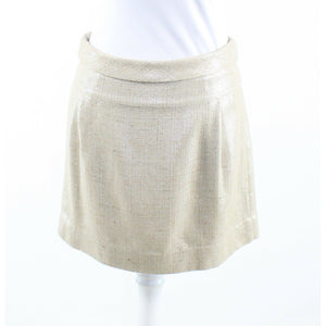 Light beige silver shimmery tweed J. CREW A-line skirt 2-Newish