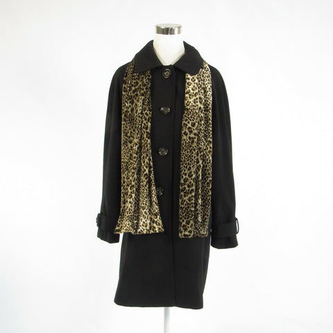 Black LONDON FOG long sleeve trench coat w/ cheetah scarf L-Newish