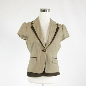 Light beige brown striped cotton blend BCBG MAX AZRIA cap sleeve blazer jacket M