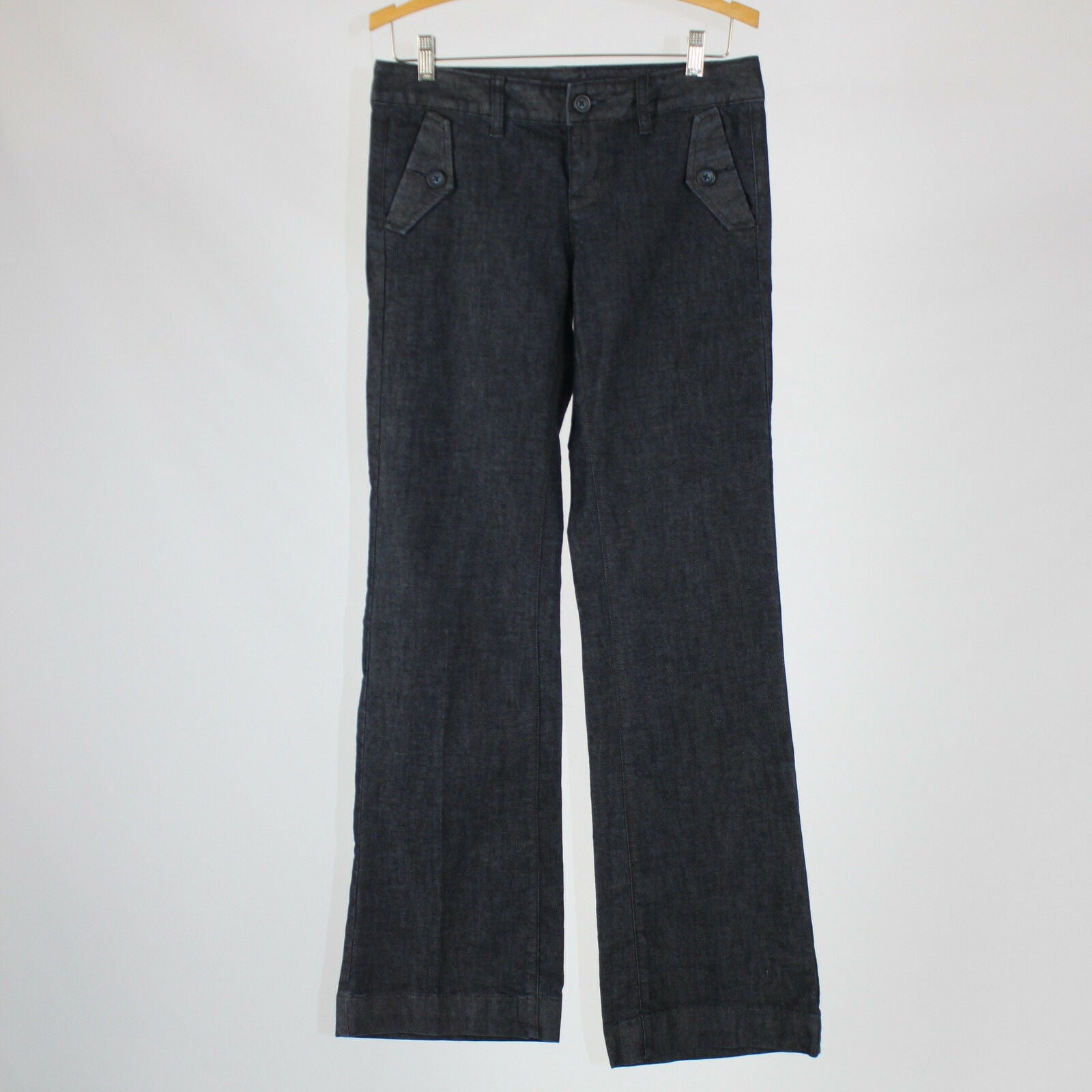 Dark denim cotton blend GAP boot cut button flap front pocket jeans 4-Newish