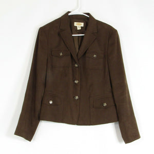 Brown faux suede TALBOTS blazer jacket 10