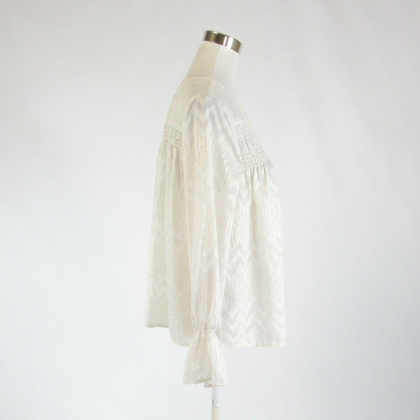 White gold chevron MAETTE semi-sheer bell sleeve blouse M-Newish