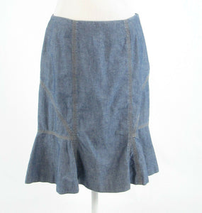 Blue beige chambray HAROLD'S A-line skirt 10
