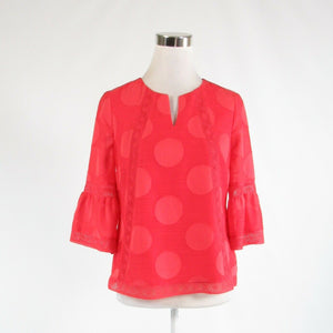 Coral orange geometric CHICO'S sheer overlay bell sleeve blouse 00P 2P