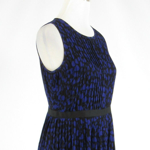 Black blue geometric ANN TAYLOR LOFT sleeveless A-line dress 4-Newish