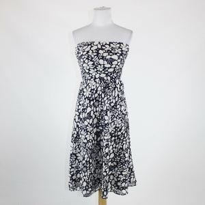 Navy blue white floral seersucker cotton J. CREW strapless knee-length dress 0