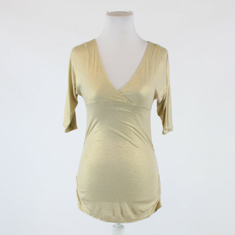 Gold shimmery stretch EXPRESS 3/4 sleeve v-neck blouse XS