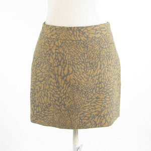 Beige gray abstract cotton blend ANN TAYLOR LOFT A-line skirt 2