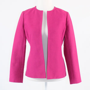 Dark pink open front cotton blend TALBOTS long sleeve jacket 4