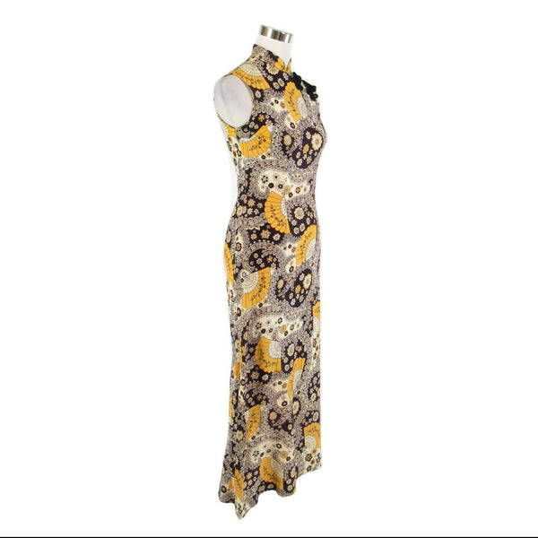 Midnight blue yellow paisley sleeveless vintage maxi dress S-Newish