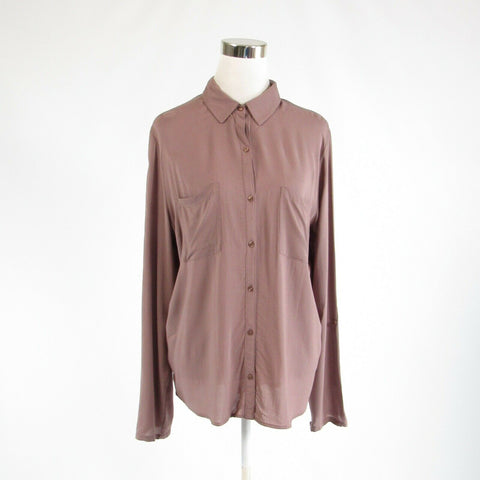 Light brown ANN TAYLOR LOFT 3/4 sleeve stretch button down blouse L