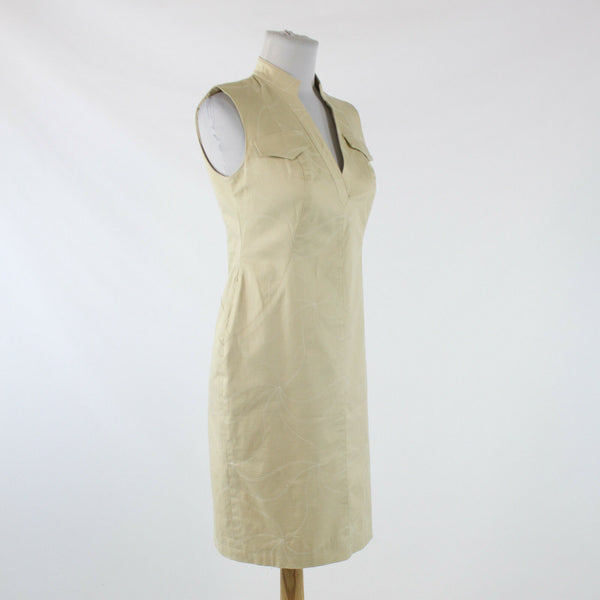 Khaki beige embroidered swirl cotton KAY UNGER sleeveless knee-length dress 4P