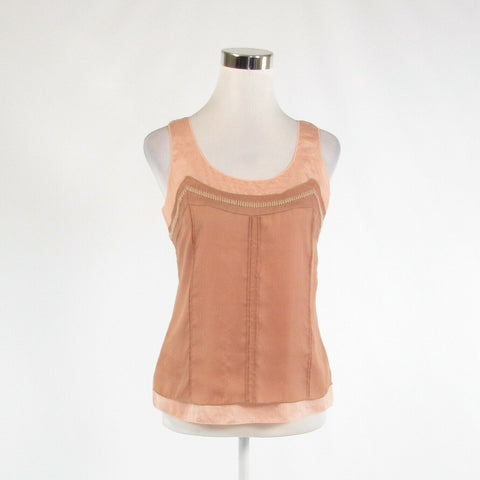Light brown peach color block satin ANN TAYLOR LOFT sleeveless tank top blouse S