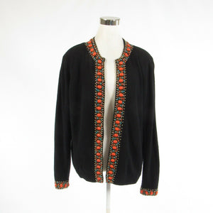 Black orange wool blend JUPITER long sleeve vintage sweater 48 XL-Newish