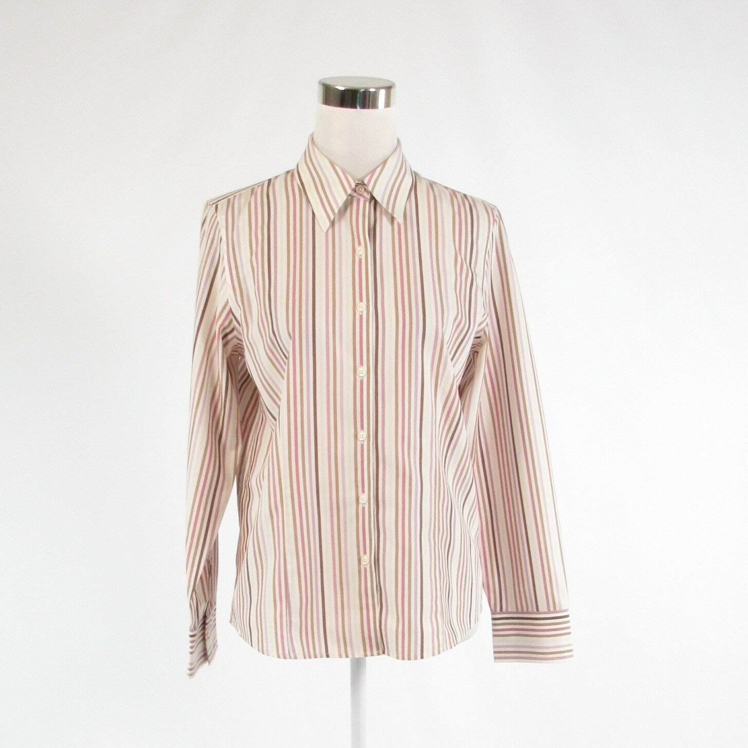 White purple striped 100% cotton TALBOTS long sleeve button down blouse 6-Newish