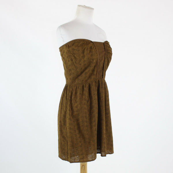 Brown 100% cotton eyelet ATHE strapless sweetheart above knee dress 4 38 NWT-Newish