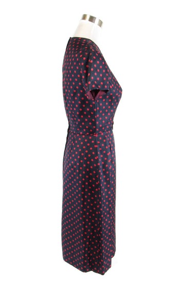 Charcoal gray red polka dot short sleeve vintage day dress S