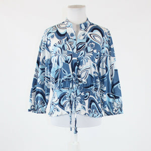 Blue white floral print 100% cotton NINE WEST 3/4 sleeve front tie blouse M