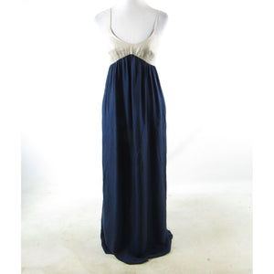 Navy blue beige L'AGENCE spaghetti strap empire waist dress M