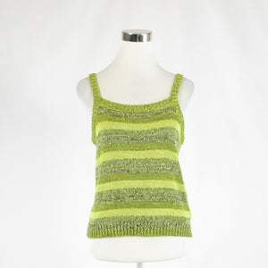 Olive green striped NINE WEST sleeveless vest sweater L-Newish