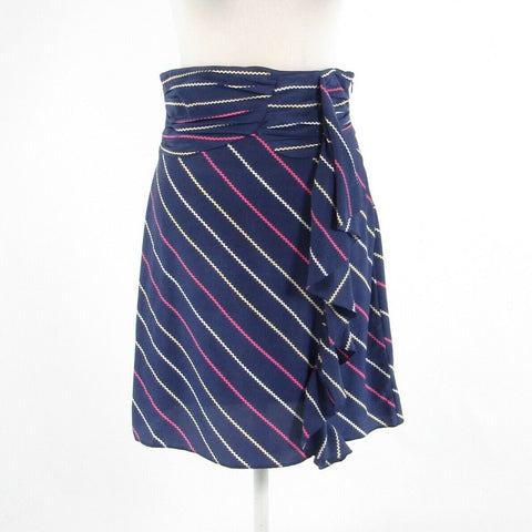 Dark blue pink diagonal striped 100% silk BF A-line skirt S