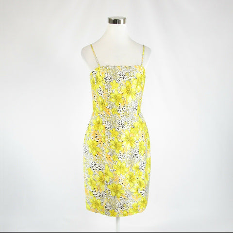 Yellow white floral print 100% Thai silk MARISA BARATELLI sheath dress 6-Newish