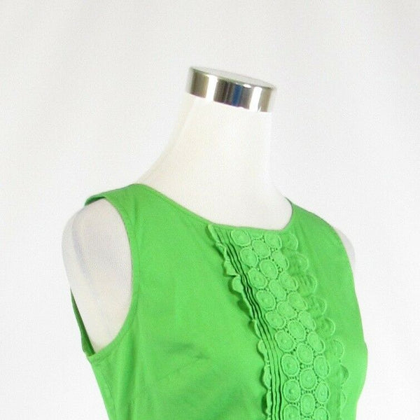 Bright green cotton blend TALBOTS stretch sleeveless blouse 6P-Newish