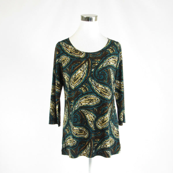 Teal green brown paisley EVAN PICONE stretch 3/4 sleeve tunic blouse S-Newish