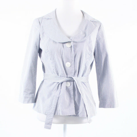 White blue pinstripe 100% cotton SANDRO 3/4 sleeve jacket S