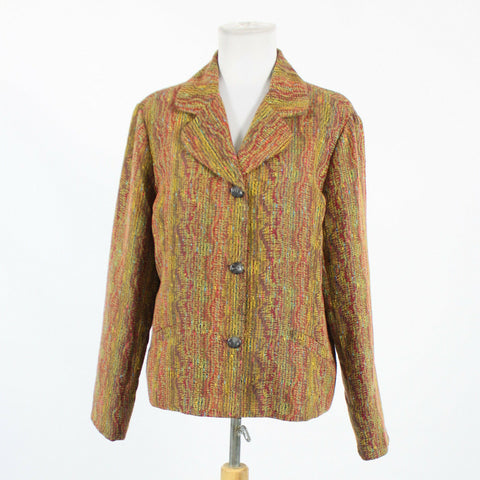 Beige maroon red & blue geometric COLDWATER CREEK long sleeve 3 button jacket L-Newish