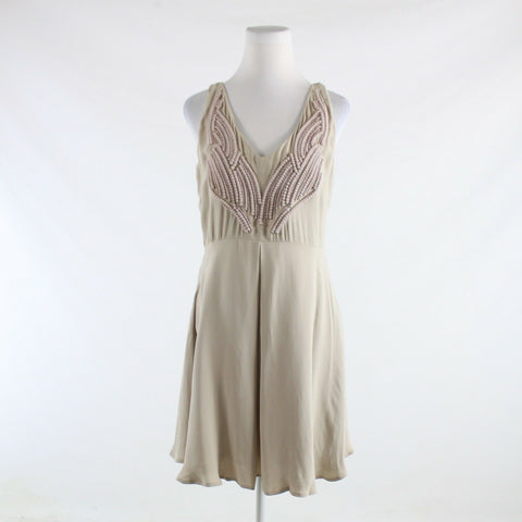 Beige light pink beaded REISS sleeveless A-line dress 10