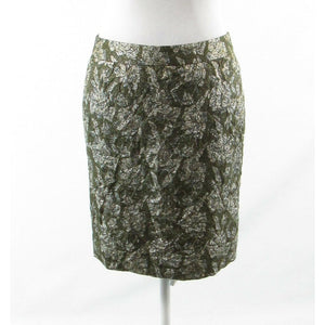 Olive green silver floral print silk blend J. CREW COLLECTION pencil skirt 4