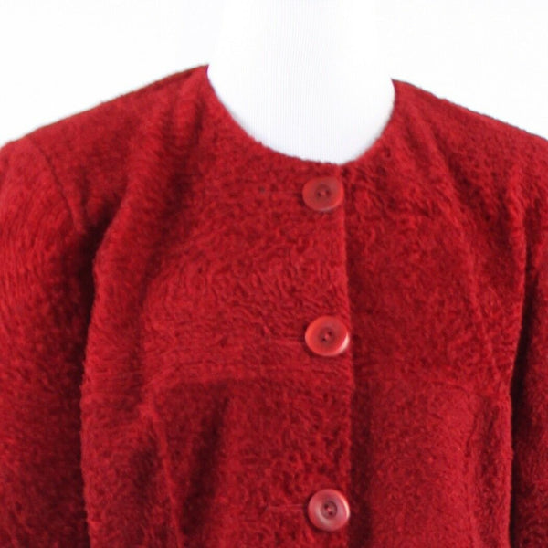 Red textured fur AUDREY TALBOTT 3/4 sleeve jacket L-Newish