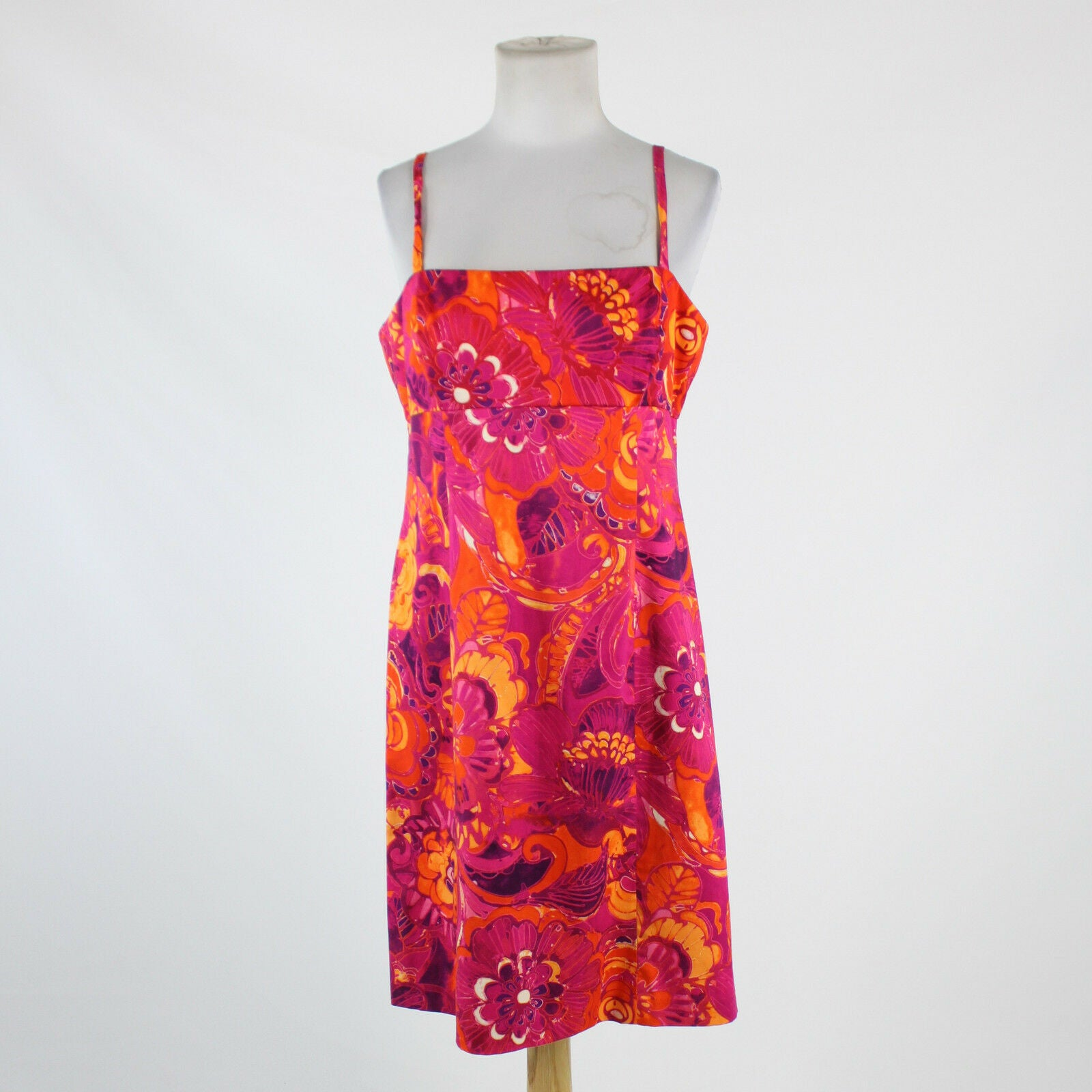 Fuchsia pink orange purple floral cotton EVAN PICONE spaghetti strap dress 12P