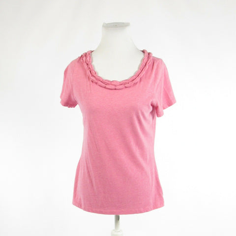 Pink TALBOTS stretch short sleeve blouse M