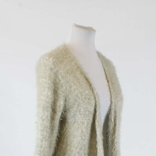 Light gray textured sequin I JEANS BY BUFFALO long sleeve swing sweater M