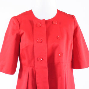 Red double breasted cotton blend DKNYC short kimono sleeve coat S-Newish